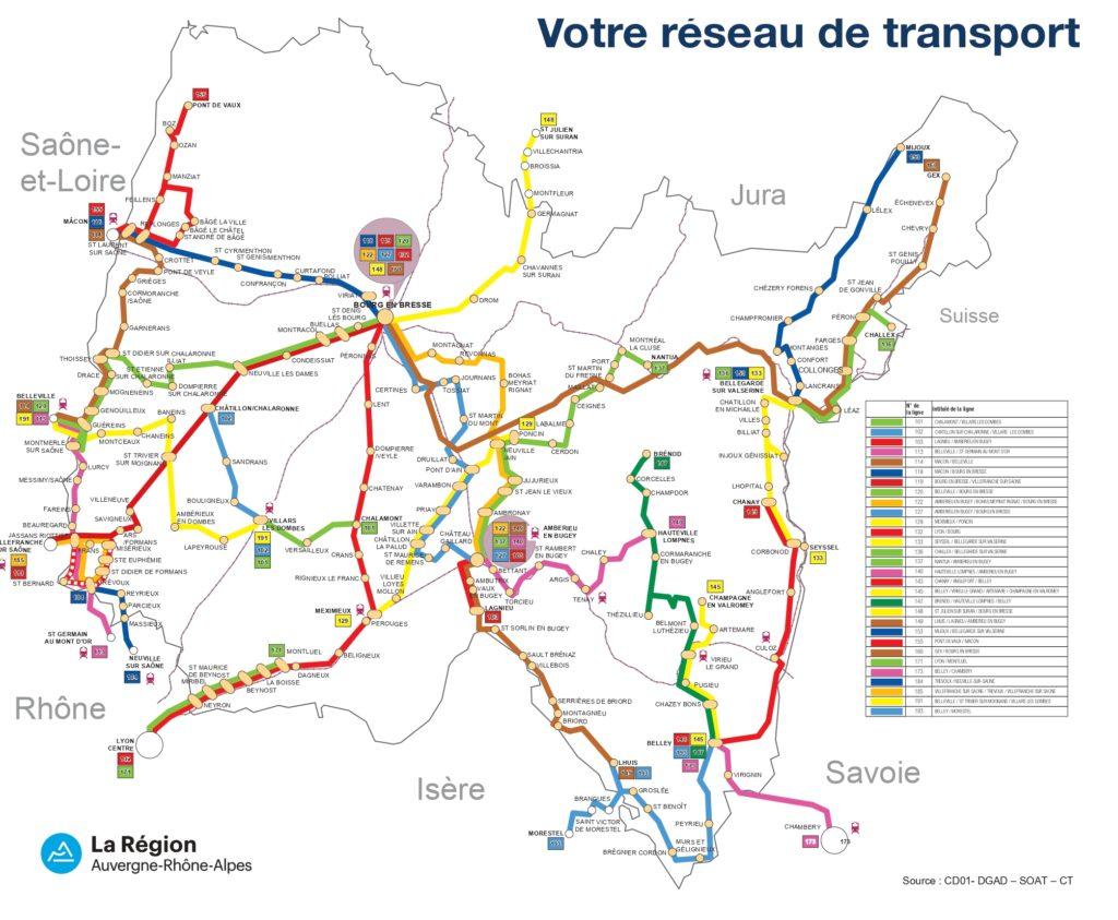 plan du réseau de car de l'Ain